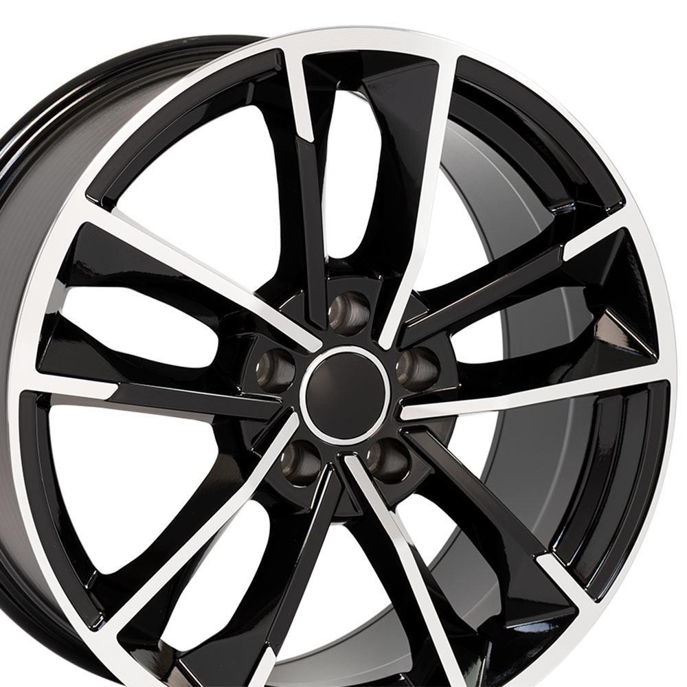 18x8 Wheel Fits Audi A Series VW RS7 Style Blk Machd Rim