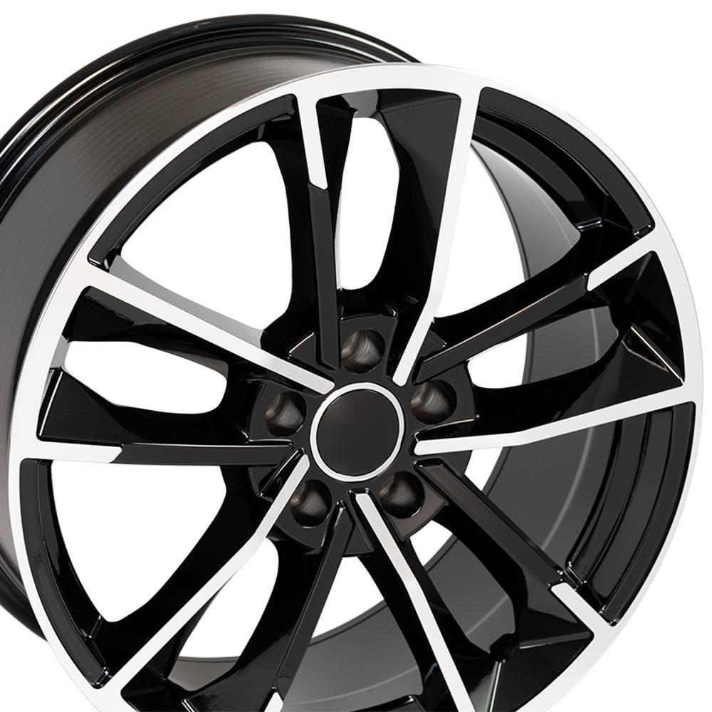 "18"" Wheel Fits Audi A Series RS7 AU31 18x8 Black Machined"
