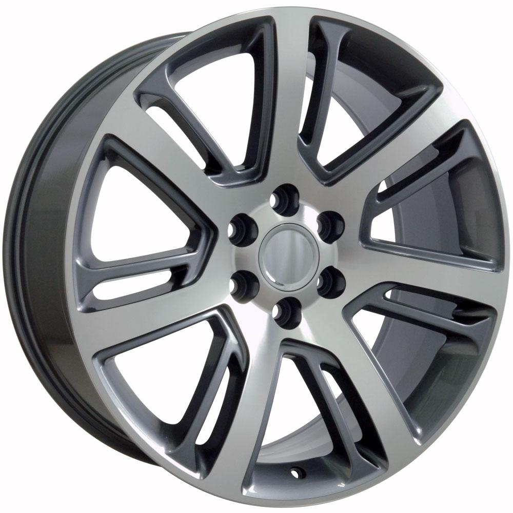 "22"" Gunmetal Machined Escalade Style Wheels & Tires Set Of"