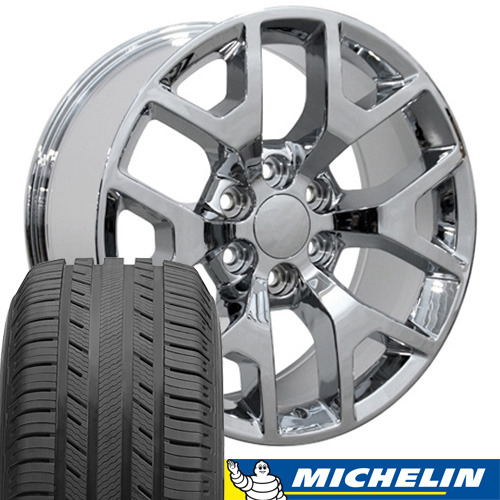 Replica Chevy truck wheels and tires set - four 20x9 chrome rims with 275-55-20 Michelin Premiere LTX tires