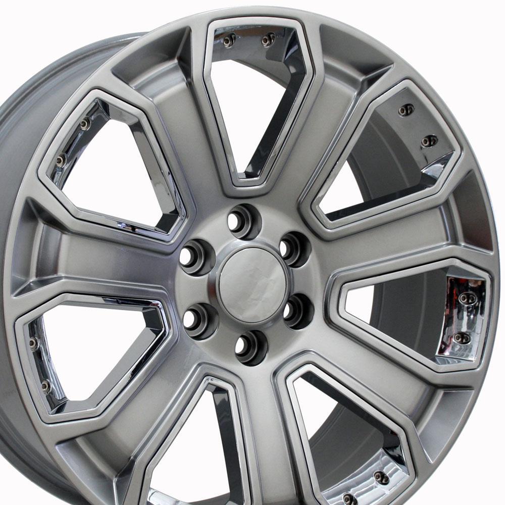Chevrolet Silverado Style Replica Wheel Hyper Black With Chrome Inserts 20x8 5