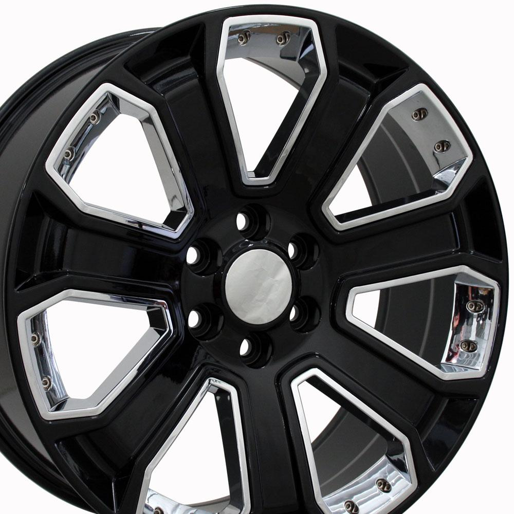 Details About 22x9 Wheels Fit Silverado Sierra Chevy Gloss Blk W Chrome Rims 5661 W1x Set