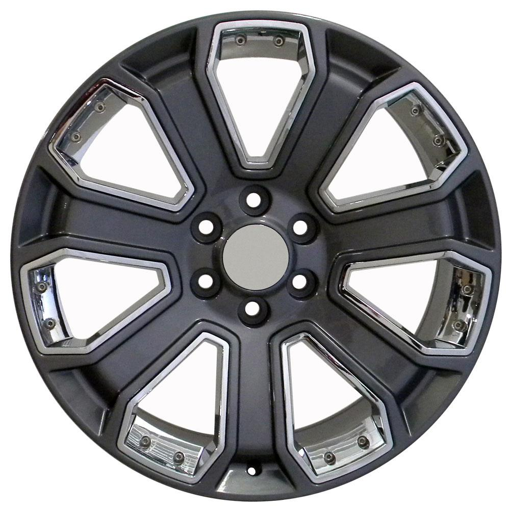 Replica Chevy truck wheels - 20x9 hyper black rims with chrome inserts for Silverado and compatible trucks and SUVs