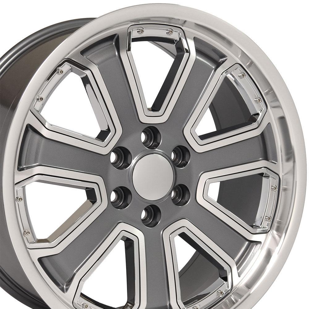 22 Quot Wheel Fits Chevy Silverado Cv93 22x9 5 Gunmetal Mach D