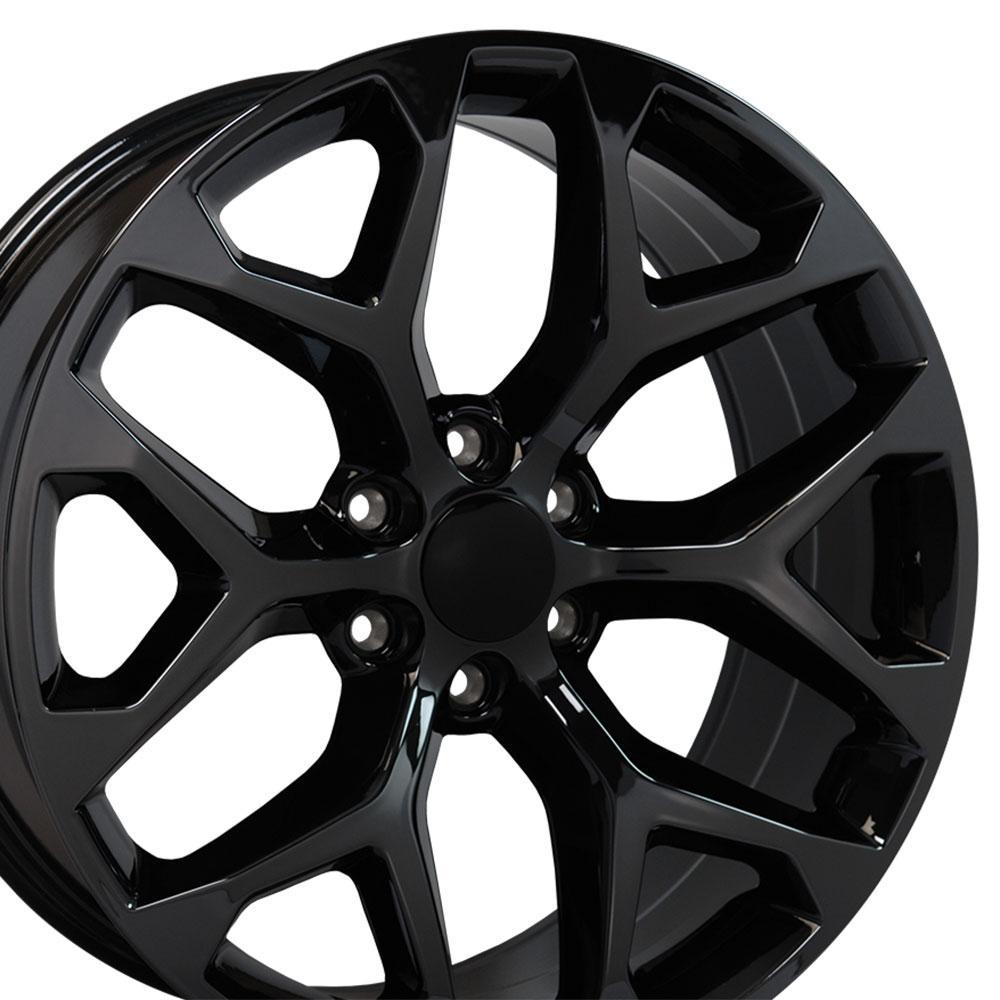 Image of 22-inch Rim Fits Silverado Snowflake Wheel CV98 22x9 Black Chrome Chevy Truck Wheel