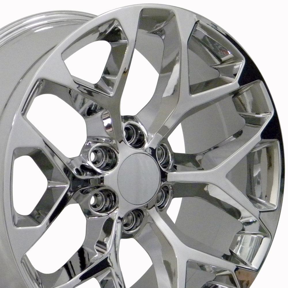 Image of 20-inch Rim Fits Silverado Snowflake Wheel CV98 20x9 Chrome Chevy Truck Wheel