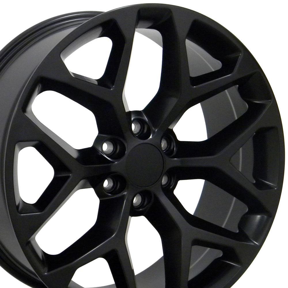 Image of 22-inch Rim Fits Silverado Snowflake Wheel CV98 22x9 Satin Black Chevy Truck Wheel