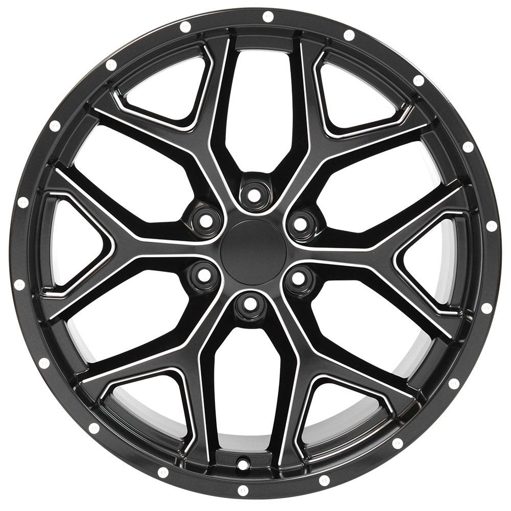 Replica wheels for Chevy trucks - 22x9.5 deep dish satin black rims with milled edge for Sierra, Silverado, Escalade and compatible trucks and SUVs