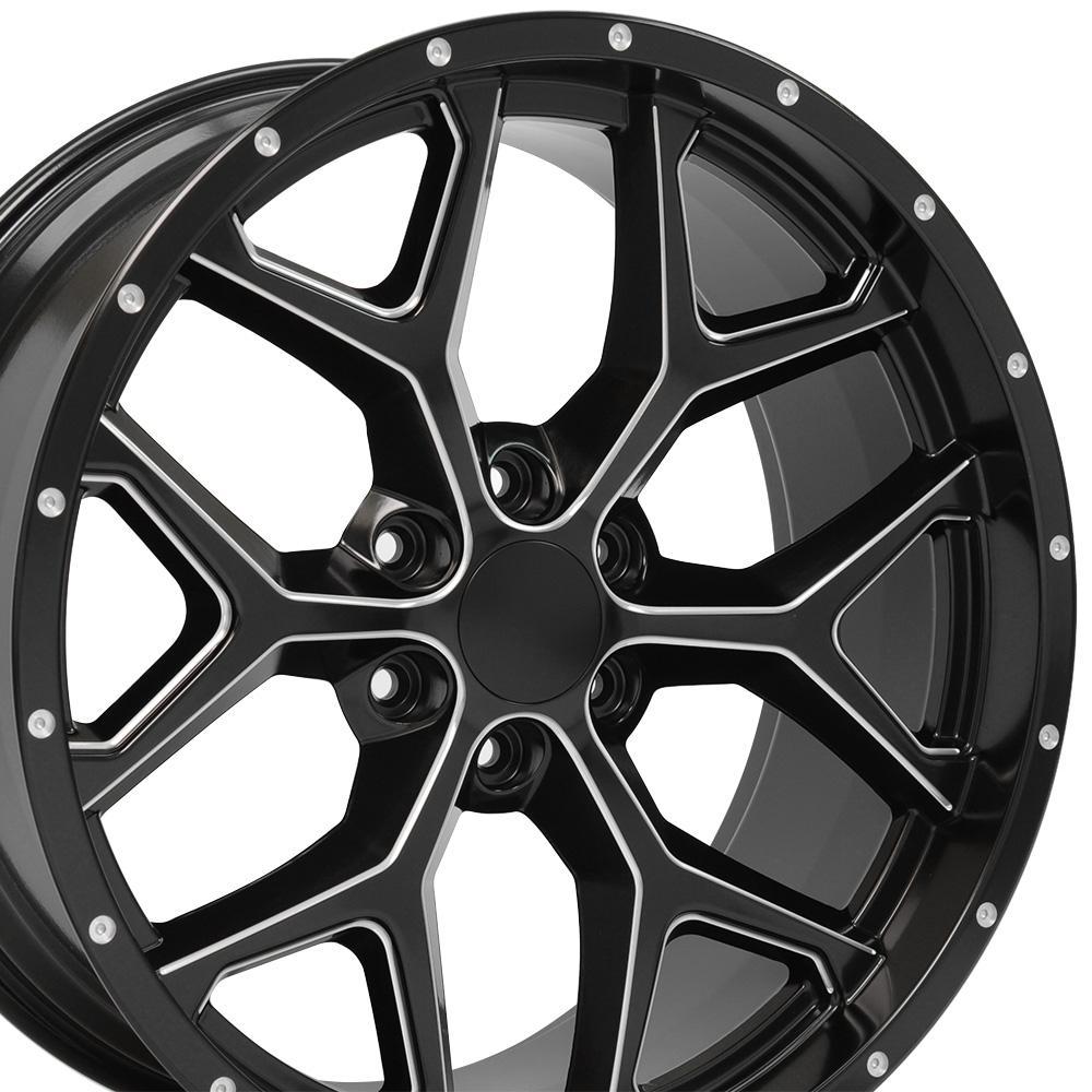 Image of 22-inch Rim Fits Silverado Snowflake Wheel CV98 22x9.5 Satin Black Chevy Truck Wheel