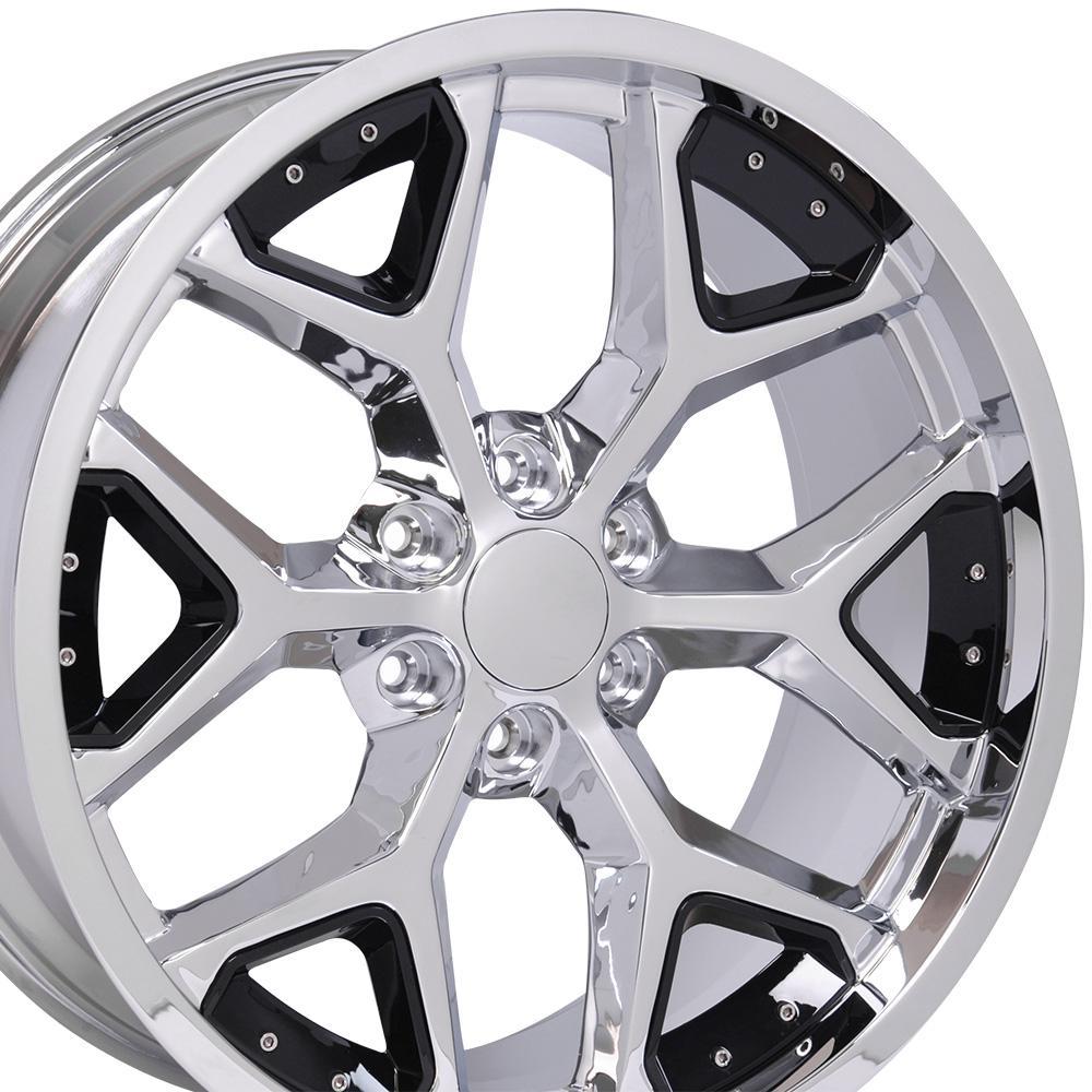 Image of 22-inch Rim Fits Silverado Snowflake Wheel CV98 22x9.5 Chrome and Black Chevy Truck Wheel