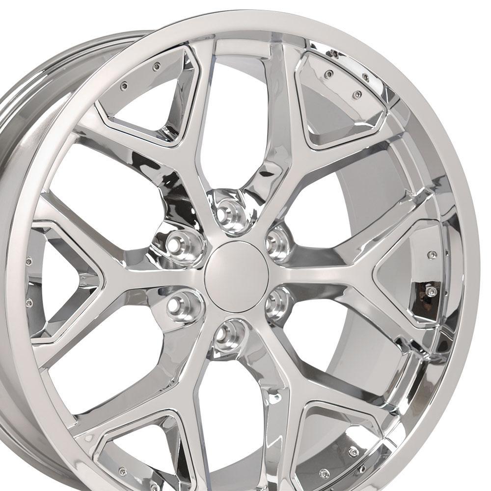 22-inch Rim Fits Silverado Snowflake Wheel CV98 22x9.5 Chrome Chevy Truck Wheel