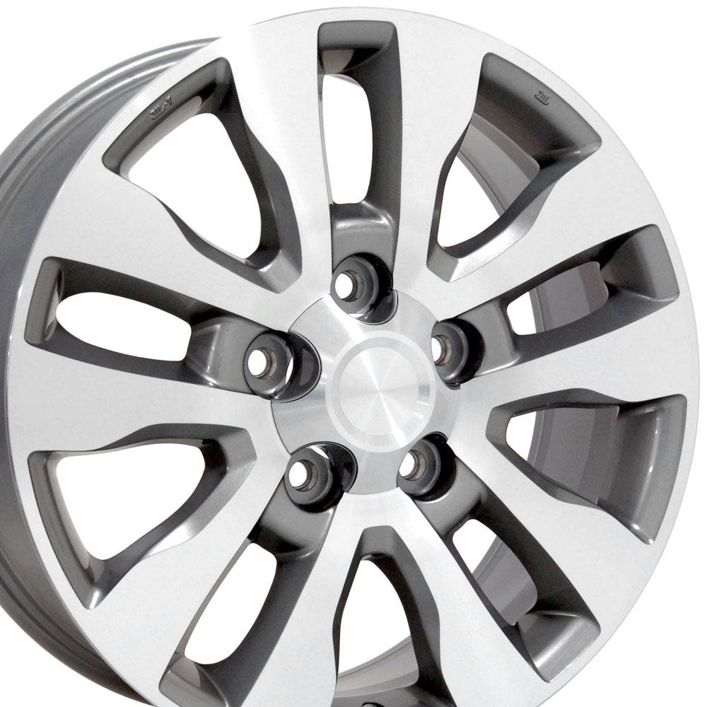 "Great 20 2019 Trd Style Satin Black Wheels Fits Toyota: 20"" Tundra Style Wheels Silver Machined Face 20x8 Set Of 4"