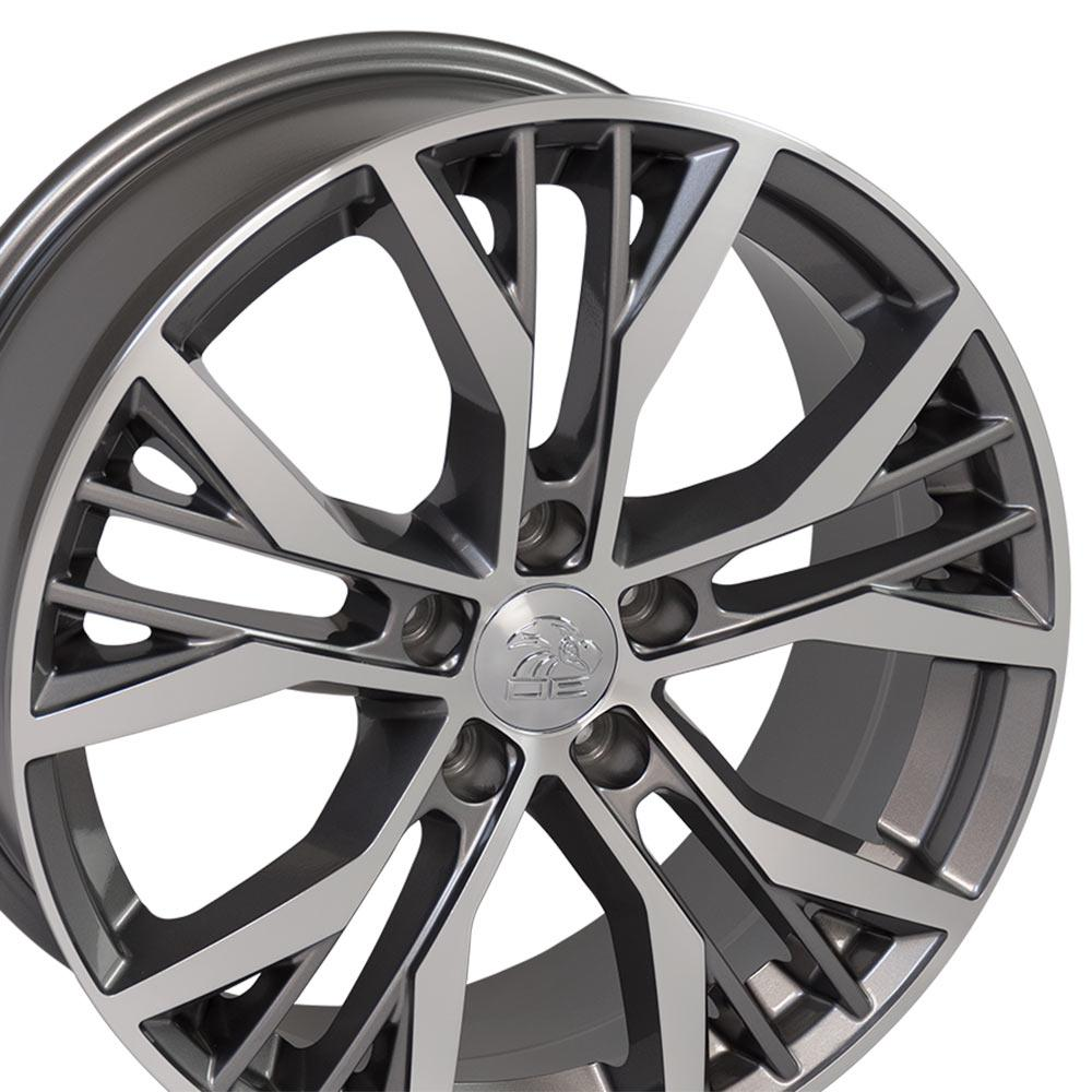 cabinet wheels vw28 18 inch gunmetal machined rims fit volkswagen gti 13078