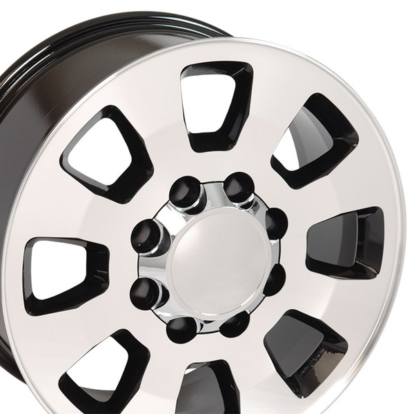 8 Lug Sierra style wheels Machined Black for Avalanche