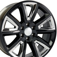 20 inch black rims with chrome inserts for Chevy Tahoe CV73-2p