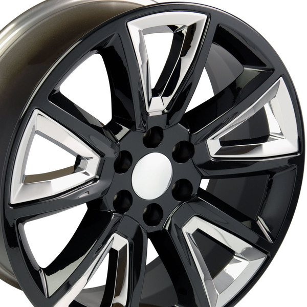 20 Inch Black Rims With Chrome Inserts For Chevy Tahoe Cv73 2p