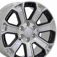 Black insert chrome Chevy truck wheels (Silverado style) 22x9