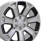 Black insert chrome Chevy truck wheels (Silverado style) 22x9
