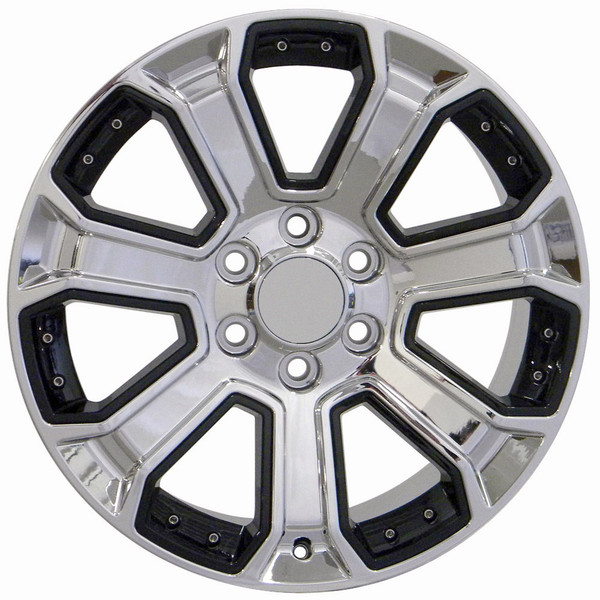 22 Inch Rim Fits Silverado Cv93 22x9 Chrome And Black Chevy Truck Wheel