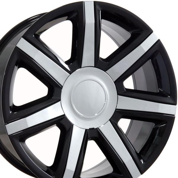 Cadillac Escalade Style Replica Wheels Black With Chrome Insert 22x9 Set