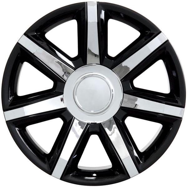 "22"" Wheels For Cadillac Escalade CA87 22x9 Black W/Chrome"
