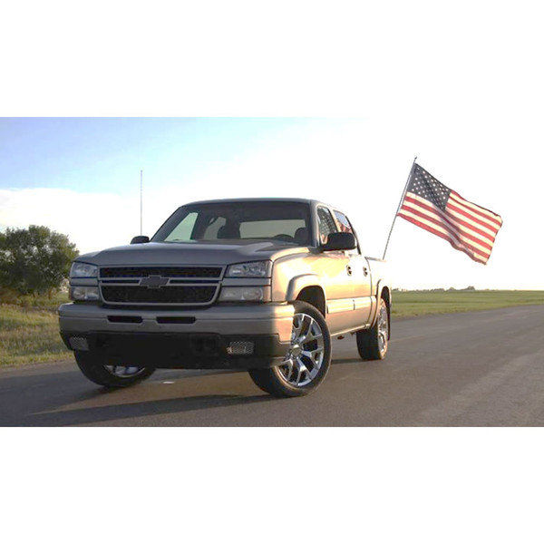 CV92 Sierra style chrome rims for Chevy trucks on a patriotic Silverado