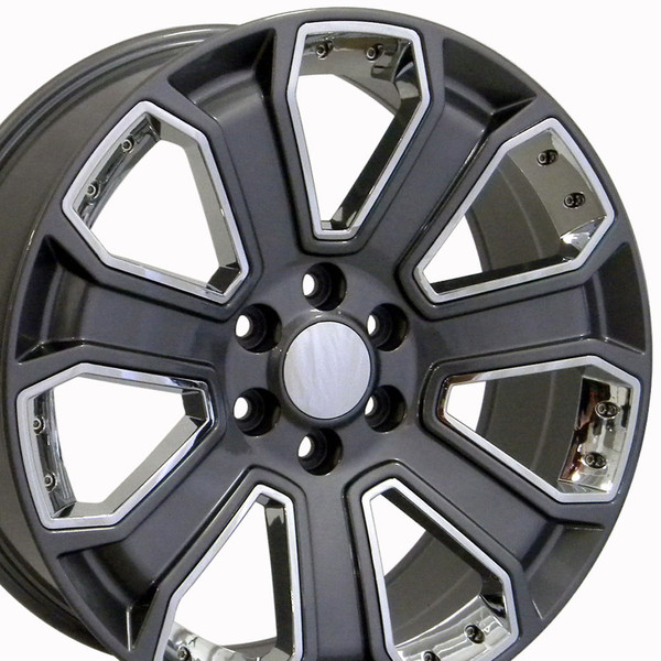 22 Inch Rims For Silverado Cv93 22x9 Gunmetal Chrome Chevy Truck Wheel Set