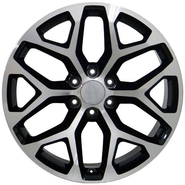 Gmc Sierra Style Replica Wheels Black Mach D Face 22x9 Set