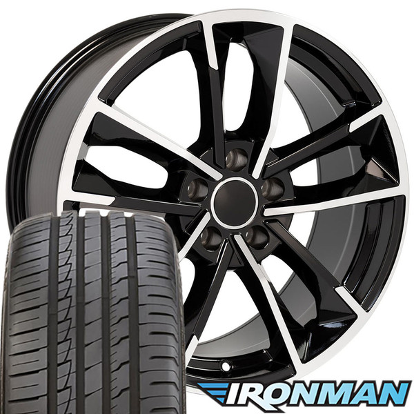 RS7 style wheel and tire package for Audi A5 machined black