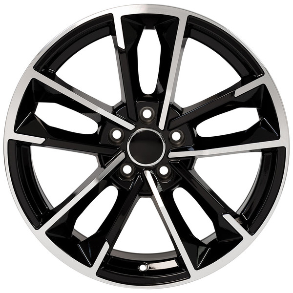 RS7 style wheel and tire package for Audi A4 machined black