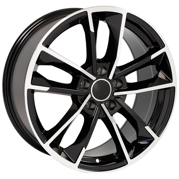 RS7 style wheel and tire package for Audi A6 machined black