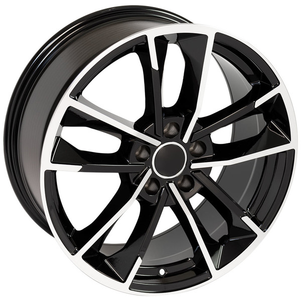 RS7 style wheel and tire package for Audi A8 machined black