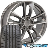 RS7 style wheel and tire package for Audi A3 machined gunmetal