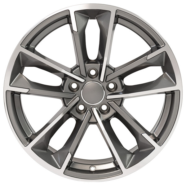 RS7 style wheel and tire package for Audi A4 machined gunmetal