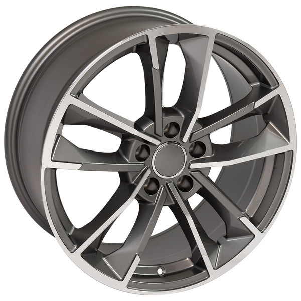 RS7 style wheel and tire package for Audi A6 machined gunmetal