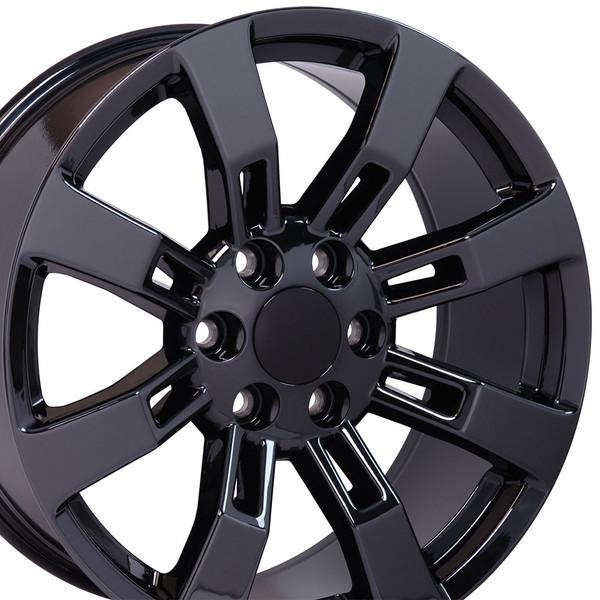 """20"""" Wheel For Cadillac Escalade CA82 20x8.5 Black Chrome"""