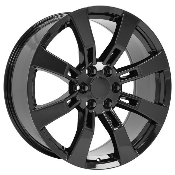 "CA82 22"" Black Rims & Goodyear Tires For Cadillac Escalade"