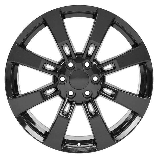 "CA82 22"" Black Rims & Ironman Tires For Cadillac Escalade SET"