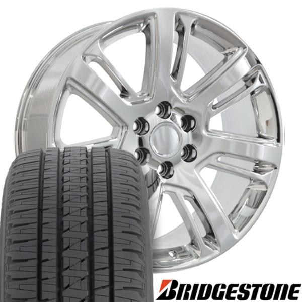 """CA88 Chrome 22"""" Rims & Bridgestone Tires For Cadillac"""