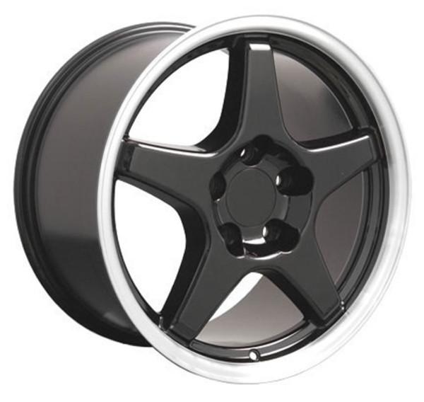 Black wheel and tire set Corvette
