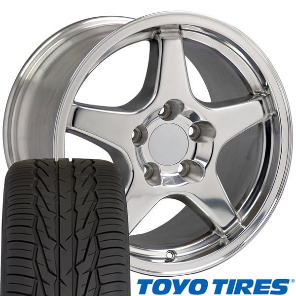 Polished wheel tire set for Camaro