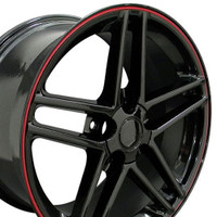 C6 Z06 Corvette Wheel Black with red srtipe