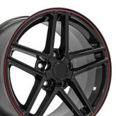 C6 Z06 Corvette Wheel Black with red srtipe