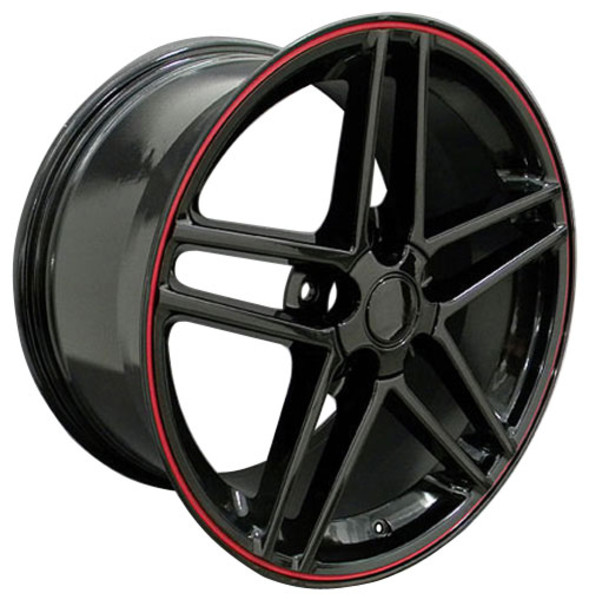 C6 Z06 Corvette Rim Black with Red Stripe