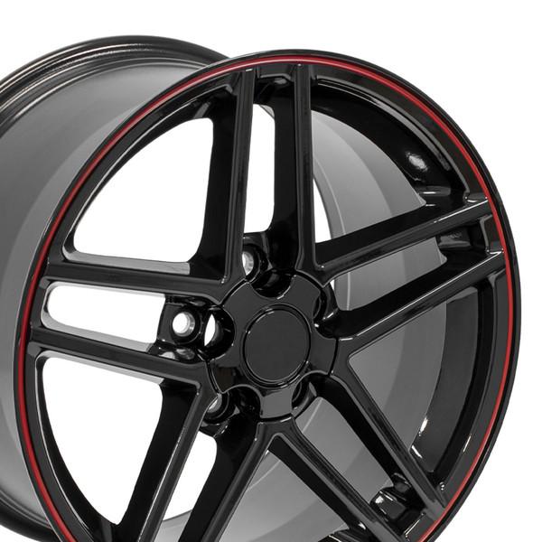 C06 Z06 rim black and red for for corvette