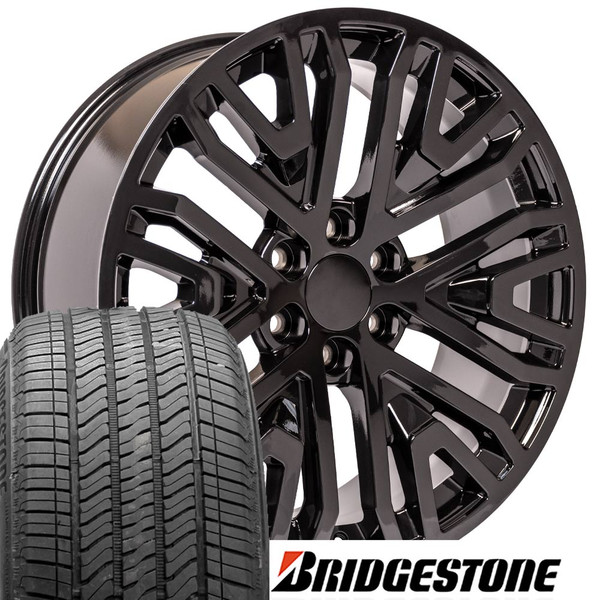 22 Inch Tires >> Cv37 22 Inch Replica Gmc Sierra Black Rims And Tires Bridgestone