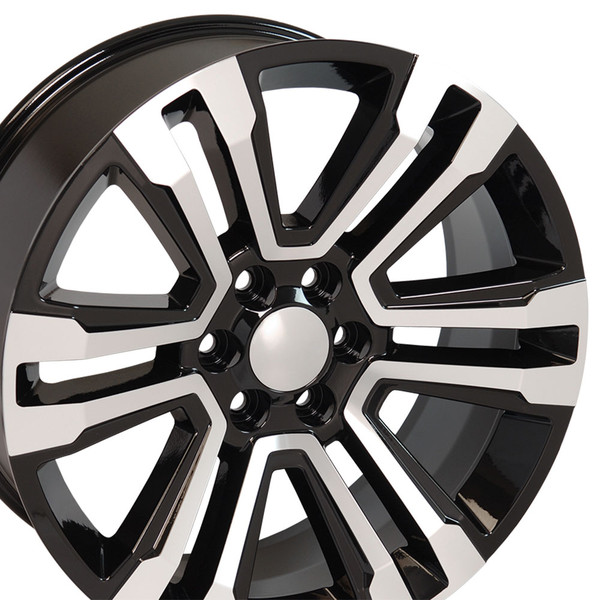 """CV44 22"""" Black Mach'd Wheels & Ironman Tires For GMC"""