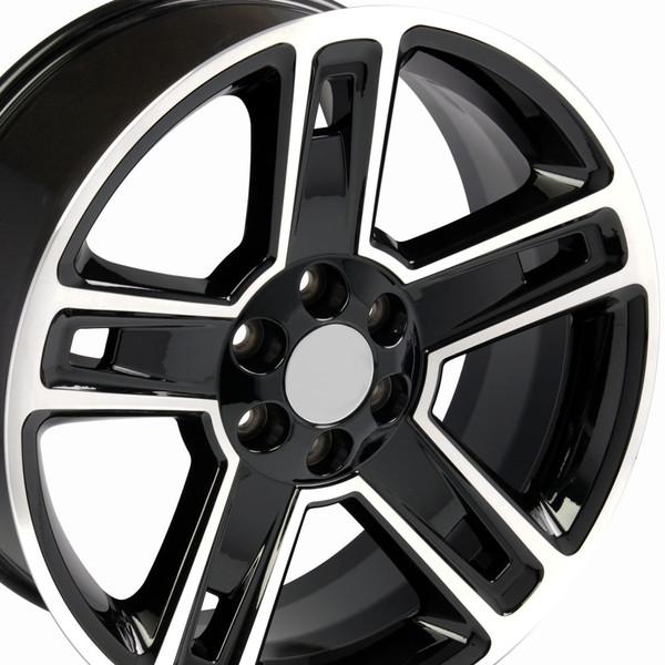 Cv74 22 Inch Black Machined Wheels Fit Chevy Silverado