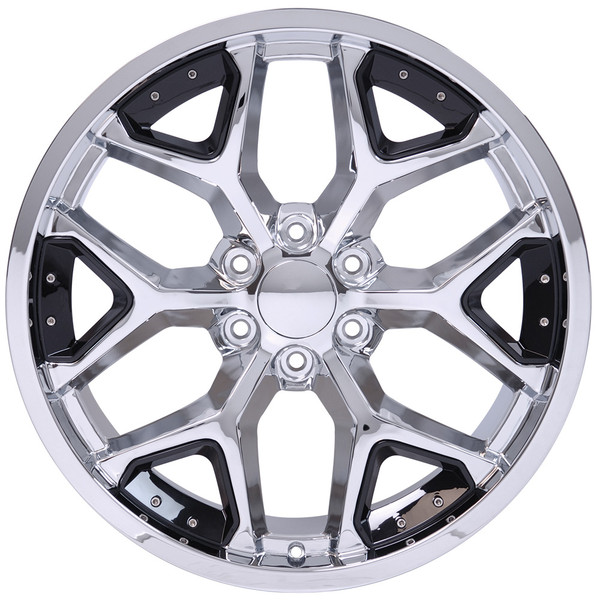 CV98 Chrome with Black Rims & Bridgestone Tires for GMC Sierra 22x9.5