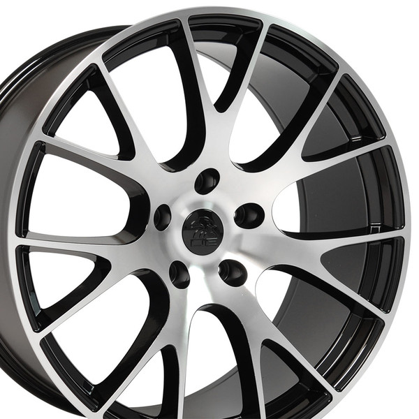 DG15 20-inch Black Machined Face Rim Set fits Dodge Charger-Challenger (Hellcat style) 2p